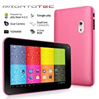 Prontotec 7 Inch HD 1024x600 Capacitive Touch Screen Tablet PC DDR 512MB, 8GB Nand Flash,Dual Core Android 4.2.2, Dual Camera, HDMI, Standard USB Port,Wi-fi, G-sensor (Pink) by ProntoTec