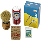 Shaving Set with Shaving Factory Double Edge Safety Razor/ Alum Bloc Osma/ Shaving Factory XS Shaving Brush/ Arko Soap and Derby Extra Blades