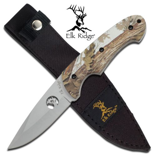 MC Winter Camo Hunter Knife 440 Stainless Steel Blade With Cut-Out Elk Includes Nylon Sheath