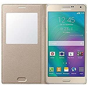 mobbysolTM SView Window Leather Flip Case Cover for Samsung Galaxy ON 5,GOLDEN