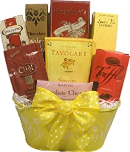 "Delight Expressions™ ""Cheerful Wishes"" Gourmet Food Gift Basket - A Birthday or Get Well Gift Basket Idea!"