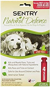Sentry NATURAL DEFENCE Against Flea Tick Squeeze On Dogs Puppies OVER 40 lb