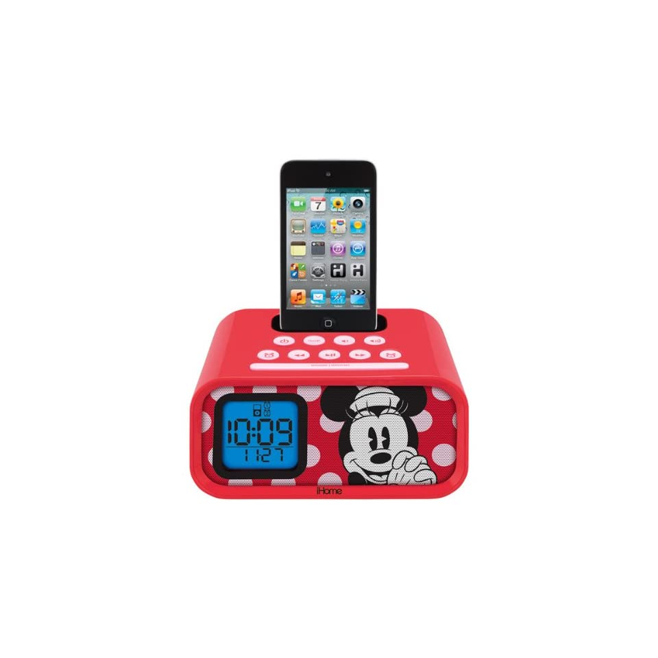 Disney Minnie Mouse Dual Alarm Clock Speaker System with iPod Dock