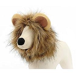 TININNA Winter Warm Lion Mane Hat Pet Costume Wig for Dog Cat Festival Partz Fancy Dress up from TININNA