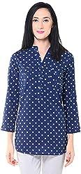Lyla Women's Regular Fit Shirt (LWSA870_S, Blue, S)