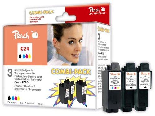 Peach C24 2xbk, color Spar Pack Tintenpatronen kompatibel zu Canon BCI-24-series
