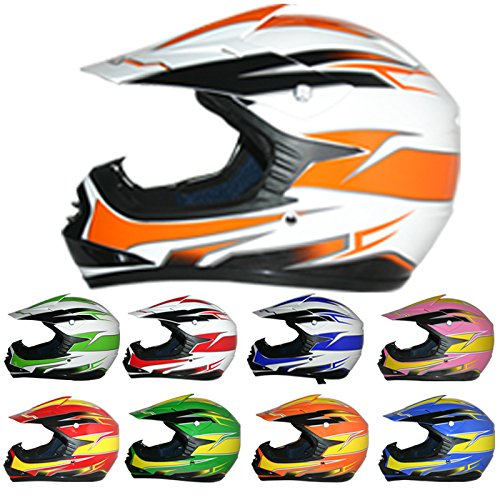 Leopard LEO-X16 Youth Junior Children Child Kids Off Road MX Motocross Helmet Crash Scooter Motorcycle Motorbike Orange White XL
