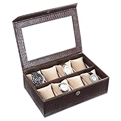 Ecoleatherette Handcrafted Eco Friendly 8 Watch Box, Watch Case, Watch Organizer (Crocodile)