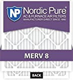 Nordic Pure 15x20x1M8-6 MERV 8 Pleated AC Furnace Air Filter, 15x20x1, Box of 6