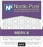 Nordic Pure 14x24x1M8-6 MERV 8 Pleated AC Furnace Air Filter, 14x24x1, Box of 6