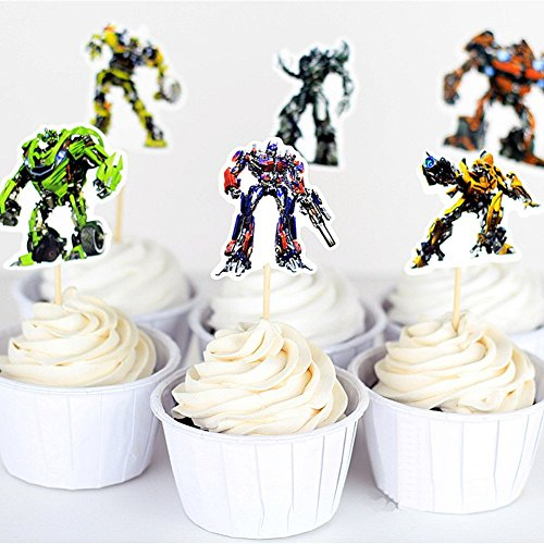 B JOY Pack Of 24pcs Cupcake Toppers Picks Transformers Kids Party Boys Birthday Cake Decoration