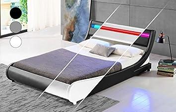 LED Bett TOKYO Doppelbett Polsterbett Lattenrost Kunstleder Bettgestell (160x200, Weiß)