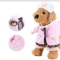 Pet Clothes Nurse Cosplay Costume Cat Dog Pink White Hat Outfit Funny Party Apparel