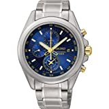 Seiko Men's SNDE59P1 Chronograph Watch Titanium Bracelet Blue Dial Watch
