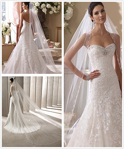 Passat White 1 Tier 1T 3M NEW! Floral Beaded Scallop Edge Cathedral Veil Long Wedding Veils Bridal Veil 224 Size 1T-3M Color White