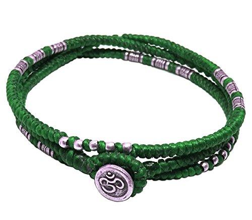 lun-na-asiatique-100-fait-main-wrap-bracelet-argent-925-perles-de-plumes-vert-ficelle-de-cire-bouton