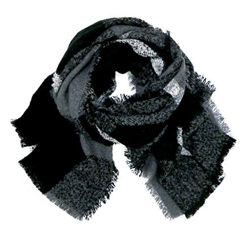 accessu-Echarpe-Foulard-pour-Femme-High-Fashion-Woven-Autumn-Winter-Check-Design-blackgrey