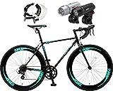 Nex Tyle (ネクスタイル) ロードバイク 自転車 700c(シマノ製7段変速 クロモリレーム) ZNX-7014(LETライト チェーンロックセット) (ブラック)