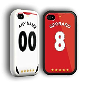 Liverpool FC Personalised Football Shirt Style Phone Cover / Case for iPhone 5/5s with White or Black Bumper in Presentation Box from SmartRestyle