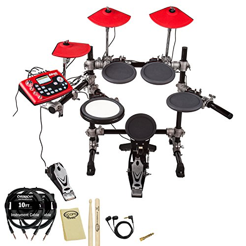 Ddrum Dd3X Electronic Drum Set With Earbuds, Chromacast Earbuds Adapter, 10Ft Instrument Cables, Godpsmusic Sticks And Polishcloth