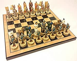 "Large 4 1/2"" King - Greek Mythology Battle of Troy Trojan War Spartan Chess SET Set W/ 18"" Walnut & Maple Color Board"
