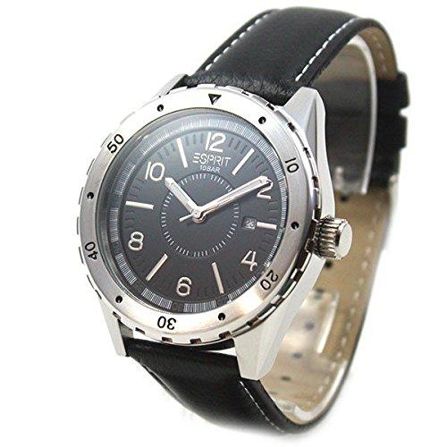 Esprit Alamo Black ES105541001 - Reloj analógico de cuarzo para hombre, correa de cuero color negro (agujas luminiscentes)