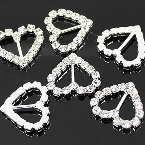 Best Price Crazy Genie 50pcs 21mm Sweet Love Heart-shaped Rhinestone Buckle Wedding Ribbon Slider fo...