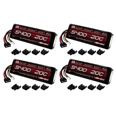 Venom 20C 3S 5400mAh 11.1V LiPo Battery with Universal Plug (EC3/Deans/Traxxas/Tamiya) x4 Packs
