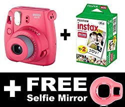 Fujifilm Instax Mini 8 Camera with 20 Shots + FREE Selfie Mirror (Raspbery)