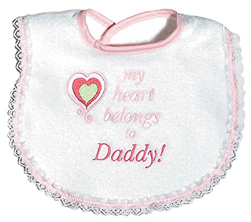 Raindrops My Heart Belongs To Daddy Embroidered Bib, Pink