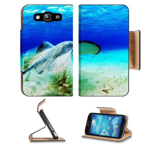 Islands Stingray Tropical Ocean Fish Samsung Galaxy S3 I9300 Flip Cover Case With Card Holder Customized Made To Order Support Ready Premium Deluxe Pu Leather 5 Inch (132Mm) X 2 11/16 Inch (68Mm) X 9/16 Inch (14Mm) Luxlady S Iii S 3 Professional Cases Acc