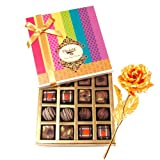 Pretty And Elegant Collection Of Truffles And Chocolates With 24k Gold Plated Rose - Chocholik Belgium Chocolates
