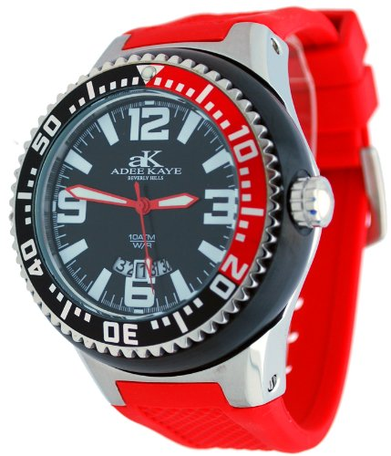 Adee Kaye #2230Ss-M Men'S Neptune Collection Stainless Steel Silicone Band Black Silver Redwatch