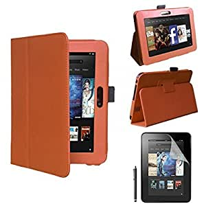"Orange New Flip Folding PU Leather Stand Case Cover for Amazon Kindle Fire HD 7"" Tablet"