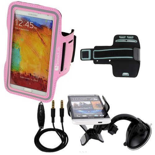 SumacLife Sports Armband for Samsung galaxy note 3 note 2 (AT&T, T-Mobile, Sprint, Verizon) + Windshield Car Mount + Auxiliary Cable (Pink) (Lg G2 Windshield Mount compare prices)