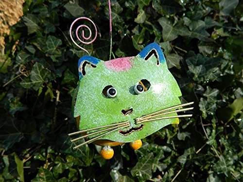 Cat Tea light Candle Holder Metal Hanging Garden Lantern - Green Tealight