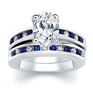 3.51 ct Oval Diamond W Round Blue Sapphire Ring Set