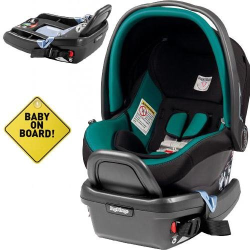 Peg Perego - Primo Viaggio 4-35 Car Seat W Extra Base And Baby On Board Sign - Aquamarine front-1034995