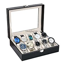 buy 10 Watch Box Mens Black Leather Display Glass Top Jewelry Case Organizer & Lock