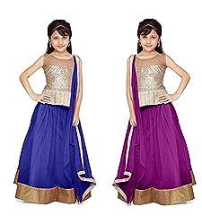 Purva Art Blue & Purple Net Kid's Lehengha Choli