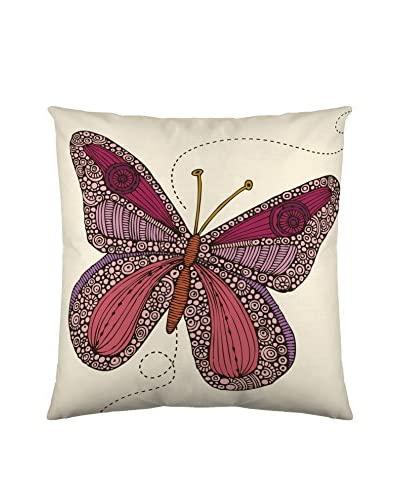 Funda De Cojín Butterfly Blanco / Burdeos