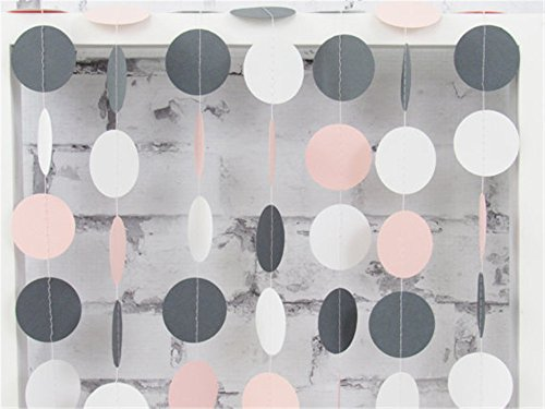 HEARTFEEL 2 Sets of 6.5 Feet Long Circle Dots Paper Garland Hanging Décor White Grey Baby Pink Party Decoration (CC-1) (Pink Grey Baby Shower compare prices)
