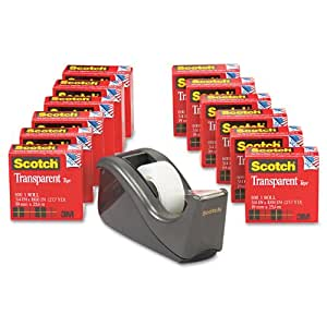 Scotch Transparent Tape with C60 Desktop Dispenser, 3/4 in x 1000 Inches, 12 Rolls, 1 Dispenser (600K-C60)