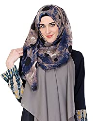 Modest Forever Blue and Earthy Tones Dotted Print Hijab / Scarf