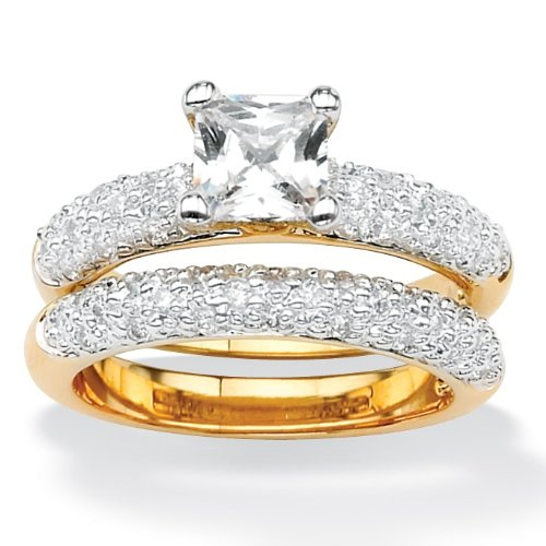 1.56 CT TW Princess and Round DiamonUltraTM Cubic Zirconia Wedding Ring Set in Tutone 14k Gold-Plated