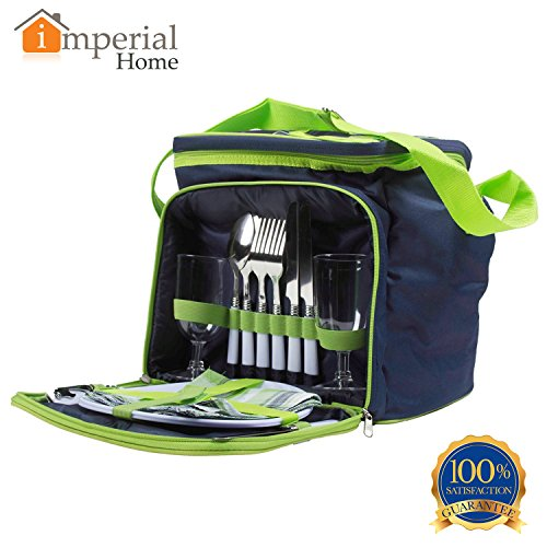 Sale!! Insulated Picnic Basket - Lunch Tote Cooler Backpack w/ Flatware Two Place Setting