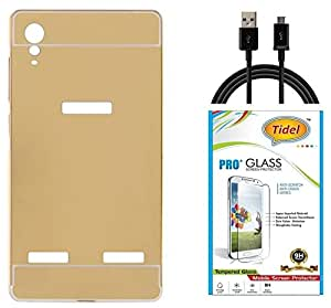 Tidel Luxury Metal Bumper Acrylic Mirror Back Cover Case For Lenovo A6000 Plus- Golden With Tidel 2.5D Curved Tempered Glass & Data Cable