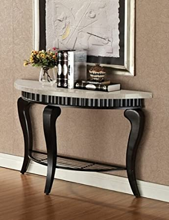 Lorencia rounded white beige marble top sofa / console table with metal scalloped edge and legs