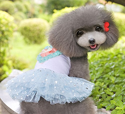 Esingyo Pet Cat Dog New Stars Heart Princess Tutu Dress Skirt Cat Puppy Small Girl Dog Clothes Blue S