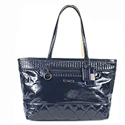 Coach Poppy Liquid Gloss Patent Large Tote Bag 18674 Cobalt Blue